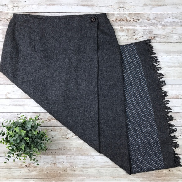 Tribal Dresses & Skirts - TRIBAL Grey Wool Blend Wrap Skirt with Fringe Hem